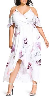 City Chic Sweet Bella Floral Cold Shoulder Dress