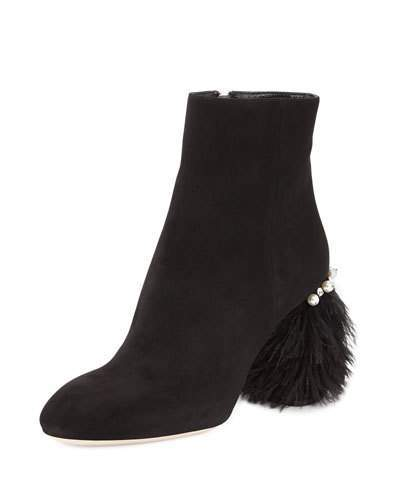 Miu Miu Miu Miu Suede Feather-Heel Ankle Boot, Nero