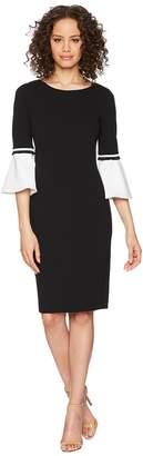 Calvin Klein Color Block Cuff Bell Sleeve Dress CD8C14LQ Women's Dress