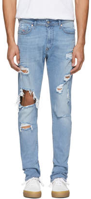 Diesel Blue Distressed Deep Zip Jeans