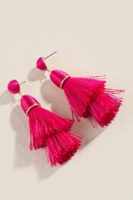 francesca's Esmeralda Tassel Earrings in Fuchsia - Fuchsia