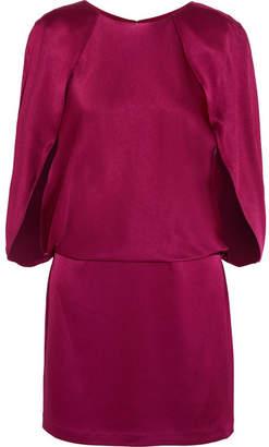 Halston Cape-effect Satin Mini Dress - Plum