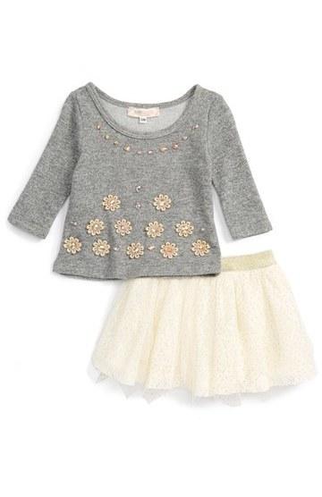 Baby SaraInfant Girl's Baby Sara Crystal Embellished Top & Tulle Skirt Set