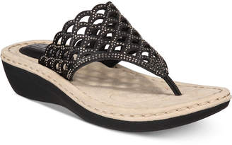White Mountain Cliffs by Cameo Thong Wedge Sandals Women's Shoes
