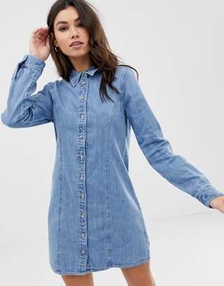 Asos Design DESIGN denim fitted western shirt dress in midwash blue