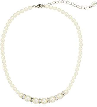"1928 Jewelry Silver-Tone Graduated Simulated Pearl And Crystal Strand Necklace 15"" Adj."