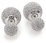 Adriana Orsini Decadence Pave Crystal Ball Two-Sided Earrings