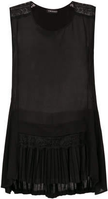 Twin-Set pleated-hem sleeveless top