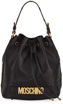 Moschino Leather Logo Bucket Bag