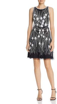 Adrianna Papell Floral Beaded Dress