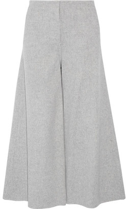 Theory - Henriet Cropped Brushed Wool And Cashmere-blend Wide-leg Pants - Gray $495 thestylecure.com