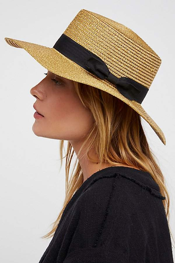 Marina Shimmer Straw Boater Hat by Free People