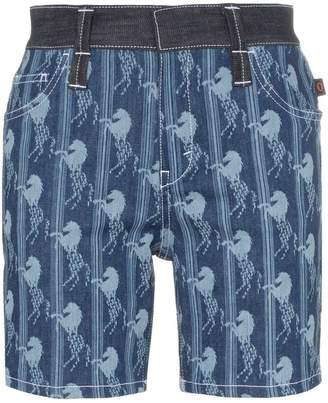Chloé horse jacquard long denim shorts