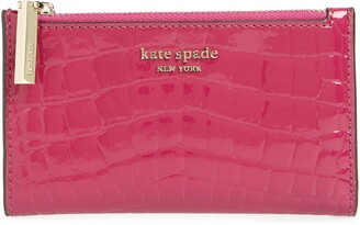 Kate Spade Sylvia Croc Embossed Leather Slim Bifold Wallet