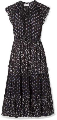 Ulla Johnson Benita Floral-print Cotton-gauze Midi Dress - Black