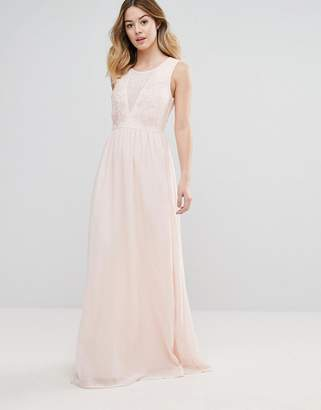 Club L Bridesmaid Maxi Dress With Rose Embroidery