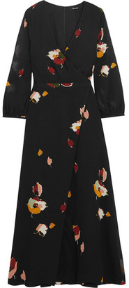 Madewell - Jane Wrap-effect Floral-print Georgette Maxi Dress - Black $190 thestylecure.com