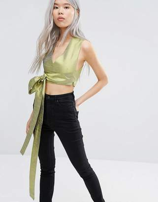 Weekday Press Pack Double V Top with Tie Front