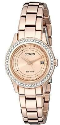 Citizen Women's Eco-Drive Silhouette Crystal Rose Gold-Tone Watch with Date
