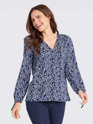 Draper James Fern Print Button Up Tie Blouse