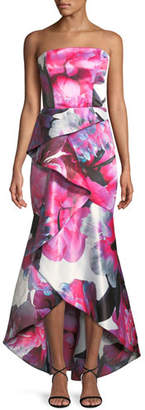 Parker Black Brenda Strapless Bustier Gown w/ Asymmetric Ruffle