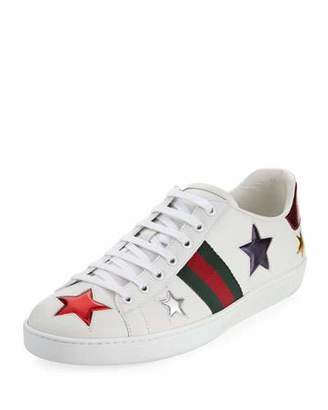 Gucci New Ace Star Leather Sneaker, White $620 thestylecure.com