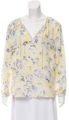 Rebecca Taylor Silk Floral Print Long Sleeve Top