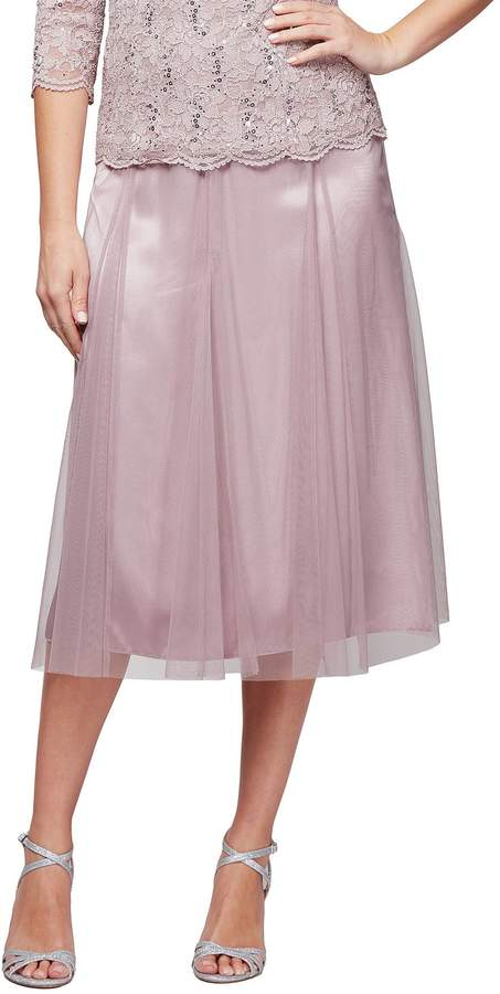 Alex Evenings Tea Length Full Skirt With Godet Insets