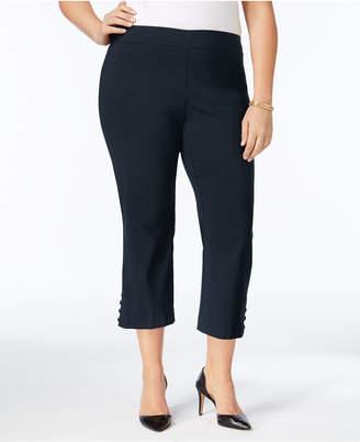 JM Collection Plus Size Lattice-Trimmed Capri Pants