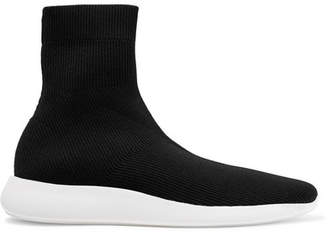 Vince Abbot Ribbed Stretch-knit High-top Sneakers - Black