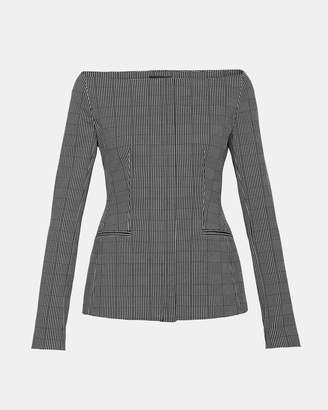 Theory Graphic Check Off-The-Shoulder Jacket