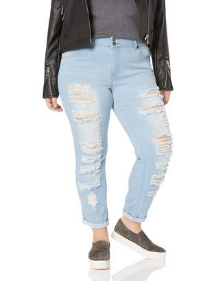 Cover Girl Skinny Ripped Jeans for Women Distressed Blue