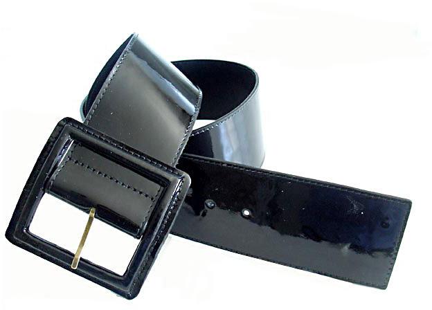 Pellemelle Square Patent Belt in Black