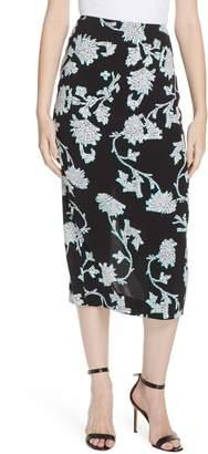 Diane von Furstenberg Kara Botanical Print Midi Skirt