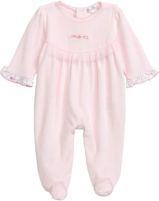 Kissy Kissy Embroidered Rose Velour Footie