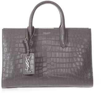 Saint Laurent Grey Medium Jane Tote Bag In Crocodile Print