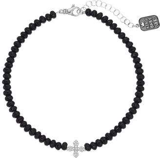 King Baby Studio - Faceted Onyx Choker w/ Pave CZ MB Cross Necklace $370 thestylecure.com