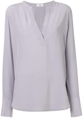 Closed V-neck long-sleeve blouse