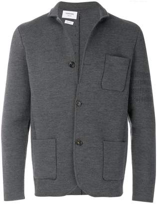 Thom Browne Tonal 4-Bar Stripe Button-Back Merino Wool Sport Coat