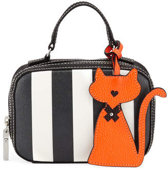Milly Mini Striped Saffiano Leather Satchel Bag