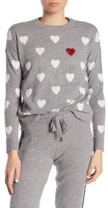 Minnie Rose Hearts Patterned Crew Neck Cashmere Sweater