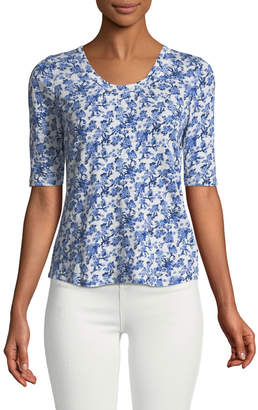 Rebecca Taylor Aimee Floral-Toile Linen Jersey Tee