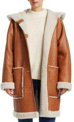 Elizabeth and James Carver Shearling-Lined Leather Coat