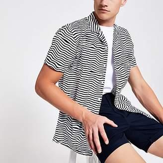 River Island Minimum white stripe short sleeve shirt