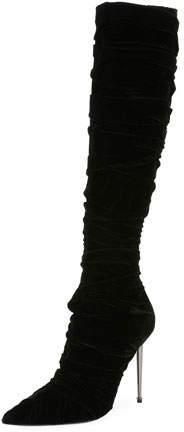 TOM FORD Pleated Velvet Knee Boot, Black