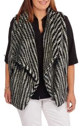 Maxwell Studio Women's Plus-Size Textured Faux Fur Vest