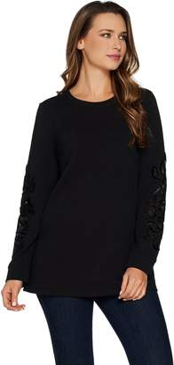 Denim & Co. Studio by French Terry Pullover Top w/ Velvet Detail