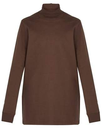Rick Owens - Roll Neck Cotton Sweater - Mens - Brown