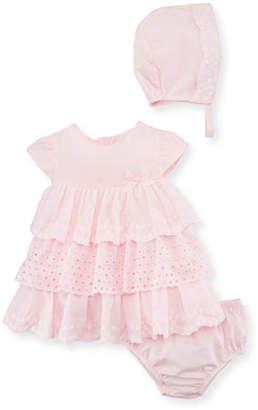 Mayoral Multi-Lace Ruffle Dress w/ Bloomers & Bonnet, Size 2-12 Months