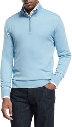 Isaia Merino Wool Quarter-Zip Sweater